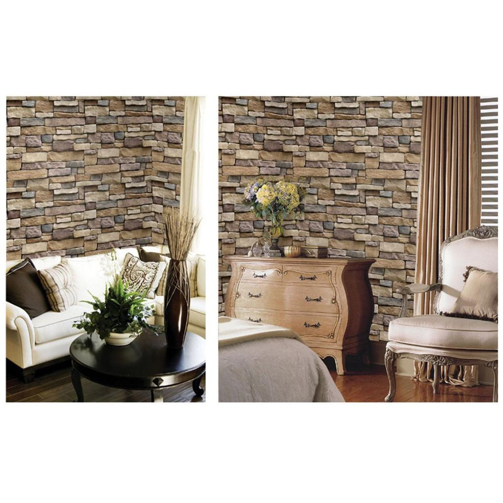 LOT 3D Stone Brick Wallpaper PVC Wall Sticker Bedroom Living Room Background WW