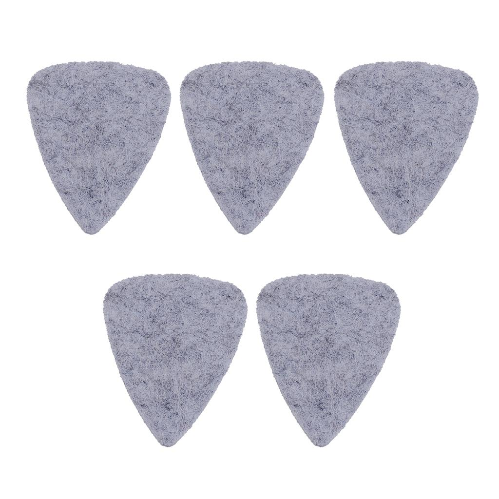 Pack of 5 Felt Classical Guitar Plectrum Picks Gray