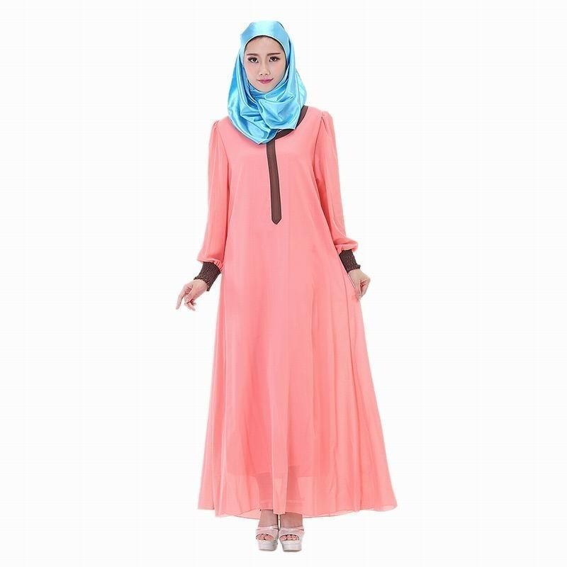Moda Casual ropa islámica turca musulmana vestido largo de Gasa Maxi ...