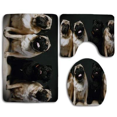 Funny Pet Dog Black Shower Curtain Bath Mat Toilet Cover Rug Bathroom Decor