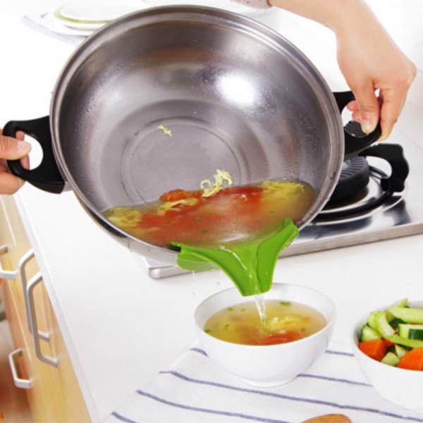1PC Cuisine Anti-débordement silicone entonnoir pour soupe pot et casseroles eau déflecteur