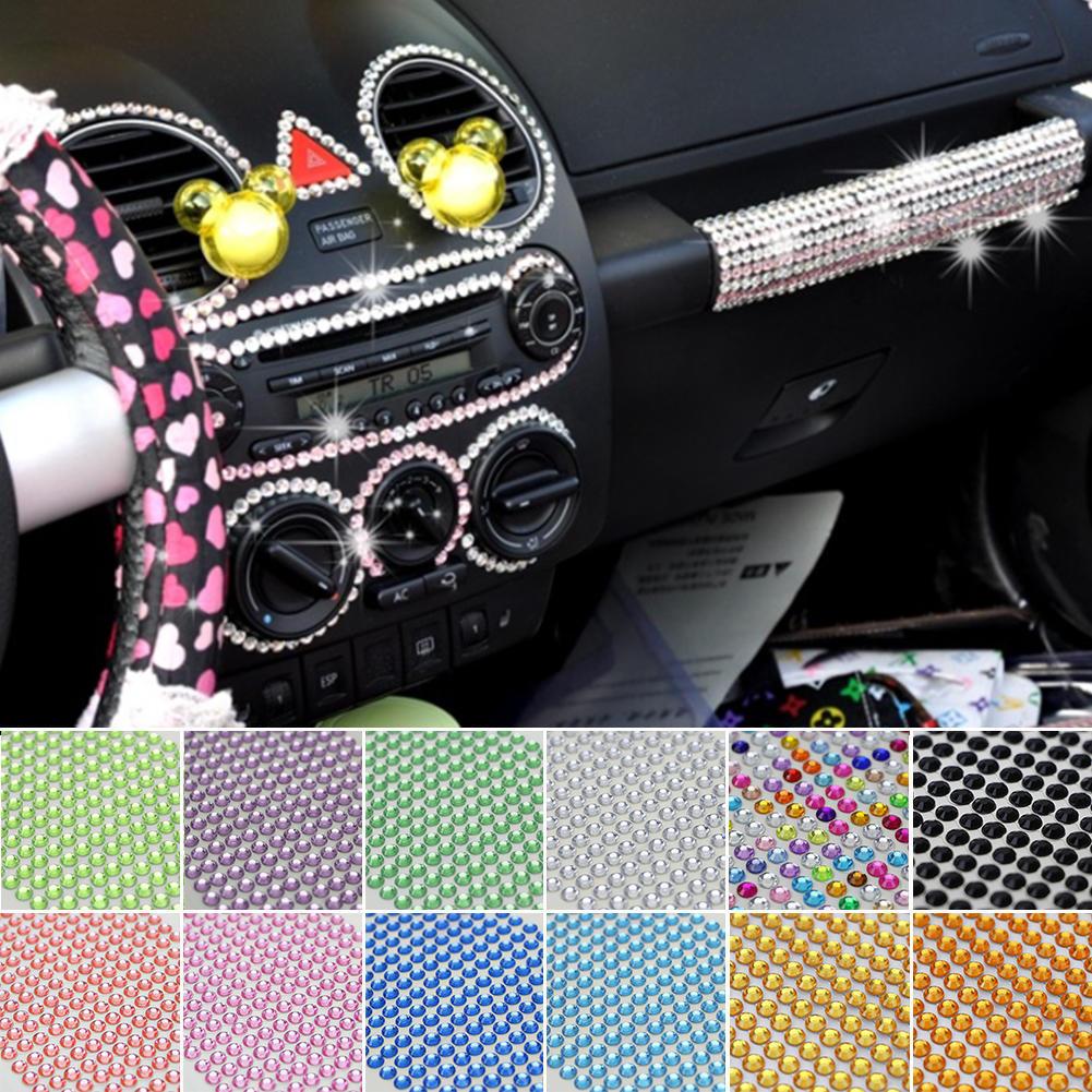 Car Styling DIY Sticker Bling Crystal Rhinestone Decal Car Interior ... 4a6fb253567a