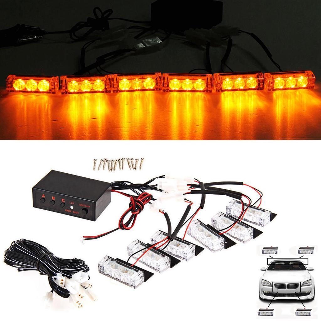 Car Truck Boat Emergency Van Flashing Modes 54-LED Strobe Light Lamp White Amber Power Mall