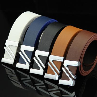 Fashion Men Leather Smooth Girdle Buckle Waistband Solid Belt Leisure Belt Strap