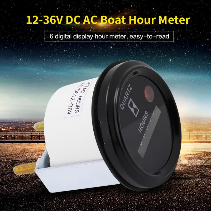 12-36V DC AC 6 Quartz Hour Meter Gauge Tester High Accuracy Waterproof Digit Round Standard Industrial for Boat Car Truck Engine