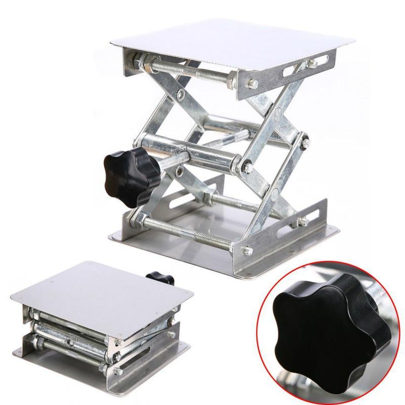 100 x 100 mm Soporte para plataforma de levantamiento de laboratorio banco elevador tijera acero inoxidable para experimentos cient/íficos mesa de laboratorio