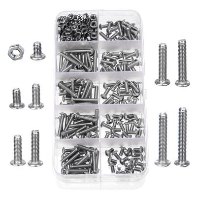 60Pcs M6 Stainless Steel Hex Socket Button Head Screws Fasteners Accessories with Plastic Box Embedded Nuts Socket Screws Hex Socket Screws