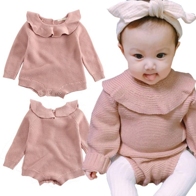 Младенческой малышей Baby девушки дети длинные ползунки наряды вязать боди комбинезон – купить по низким ценам в интернет-магазине Joom