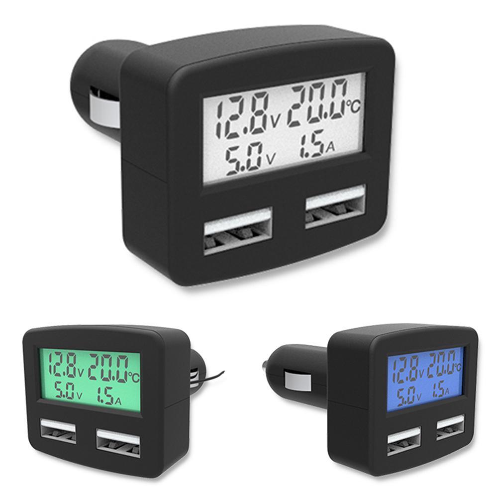 Универсальный 5 в 1 3A автомобиль зарядное устройство DC 5V двойной USB автомобиль зарядное устройство с дисплеем телефона