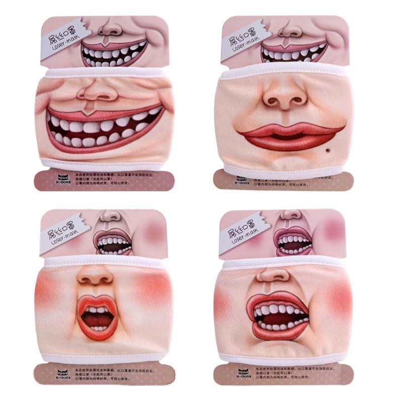 3D Funny Face Mask Expression Cotton Mouth Face Mask Health Cycling Respirator D