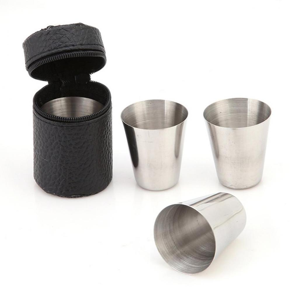 4Pcs Stainless Steel Camping//Travel Mug Beer Tumbler Coffee Tea Cup+PU Cover