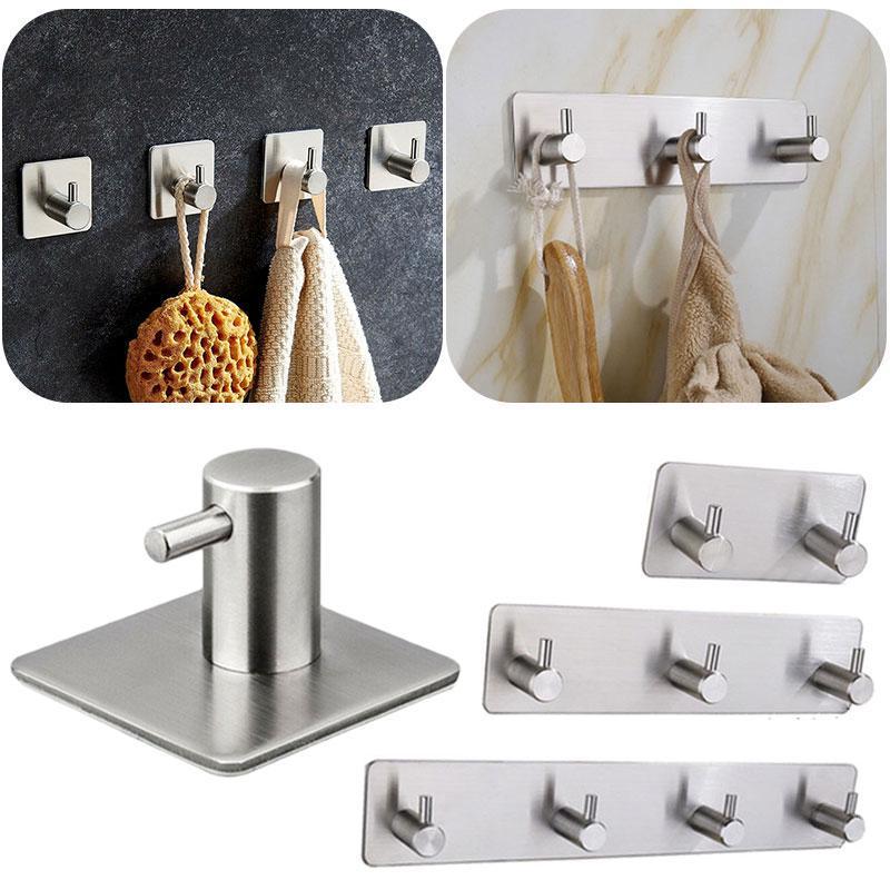 2//4PCS Self Adhesive Bathroom Wall Door Stainless Steel Holder Hook Hanger Hooks