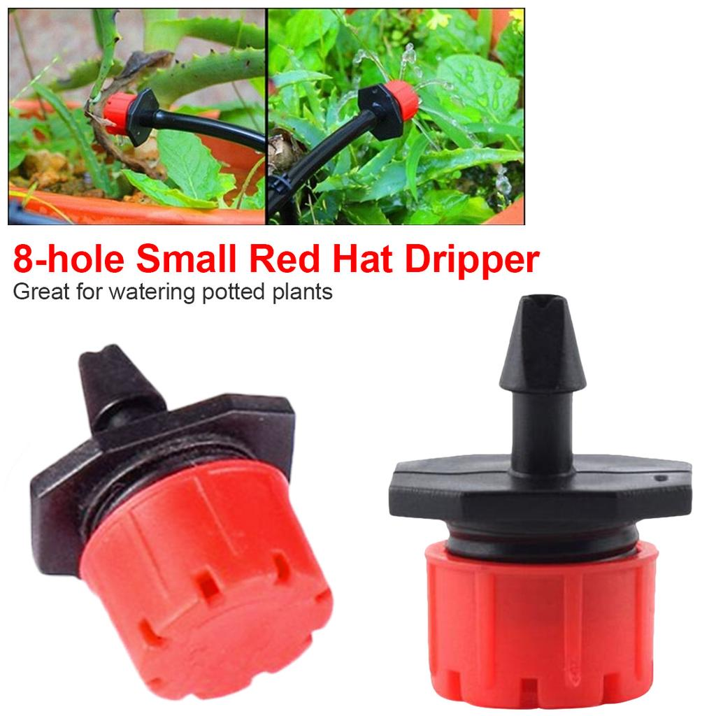 50PCS Irrigation Drippers for 4mm//7mm Tube 360 Degree 8 Holes Adjustable Dripper
