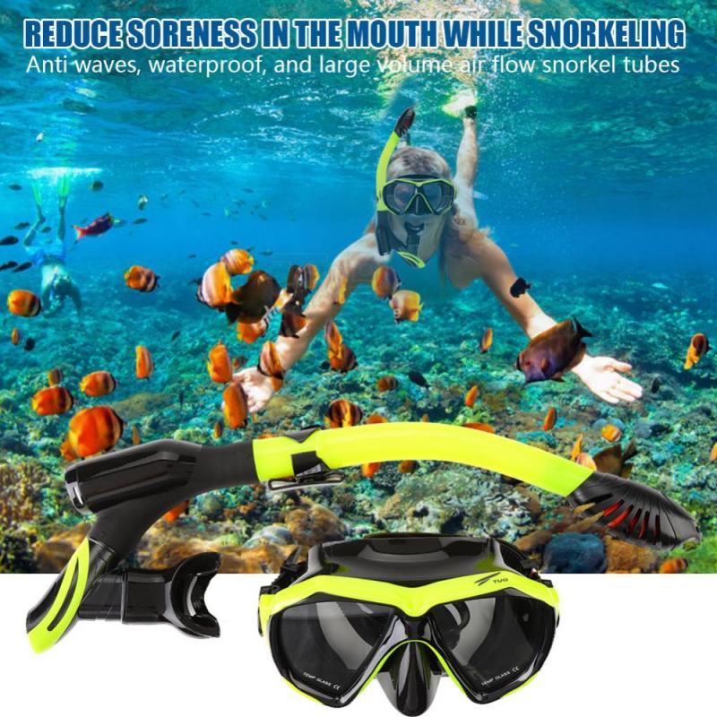5078f0d96 TUO antiniebla buceo máscara Snorkel Set completo seco tubo natación ...
