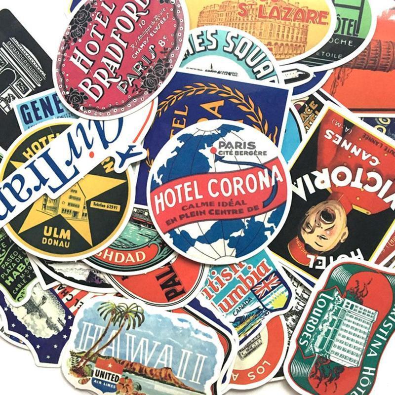 55Pcs Retro Sticker Vintage Hotel For Laptop Luggage Skateboard Laptop Car Decal