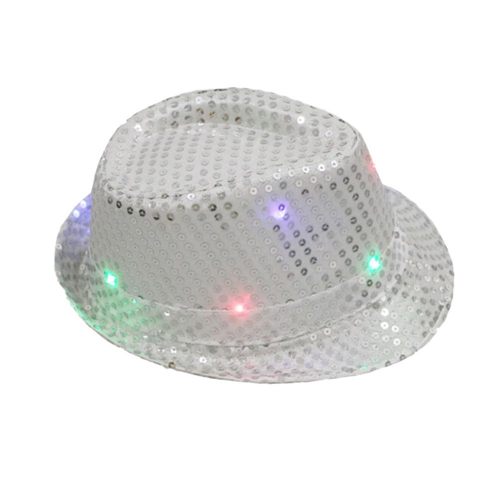 Luz del LED para arriba sombrero Glitter lentejuelas sombrero etapa ... cf622e41d63