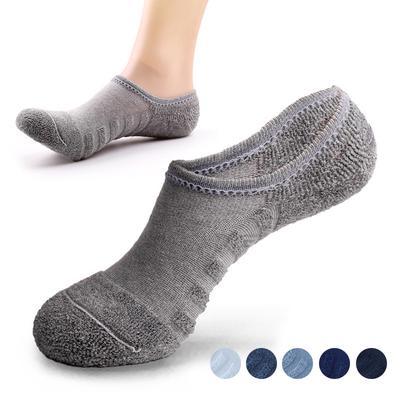 New Gray Simple Anti-Slip Mens Cotton Sports Short Socks Size 26-28cm