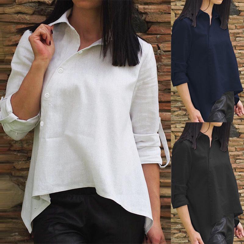 ЗАНЗЕА Хлопок Топы женщин Мода Случайный Loose Длинные рукава Кнопка вниз Рубашка Осень Kaftan Блузка фото
