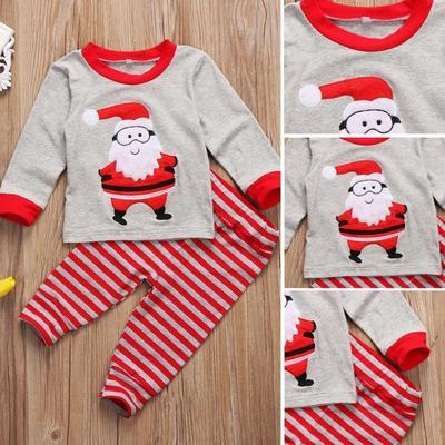 5bd74bbdd UK Stock Christmas Kids Baby Boy Girl Santa Sleepwear Nightwear ...