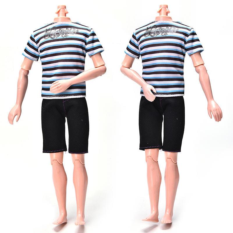 Полосатая рубашка для Ken кукла Барби ткань черные короткие брюки моды кукла костюм костюм фото