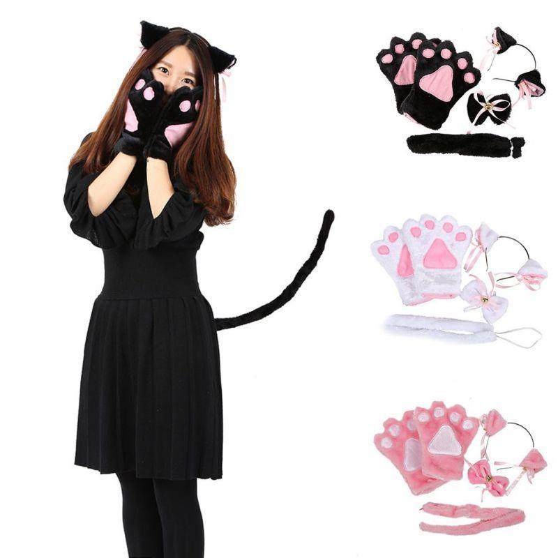 Ladies Black Cat Accessories Ears Bow Tie Tail Halloween Fancy Dress Costume