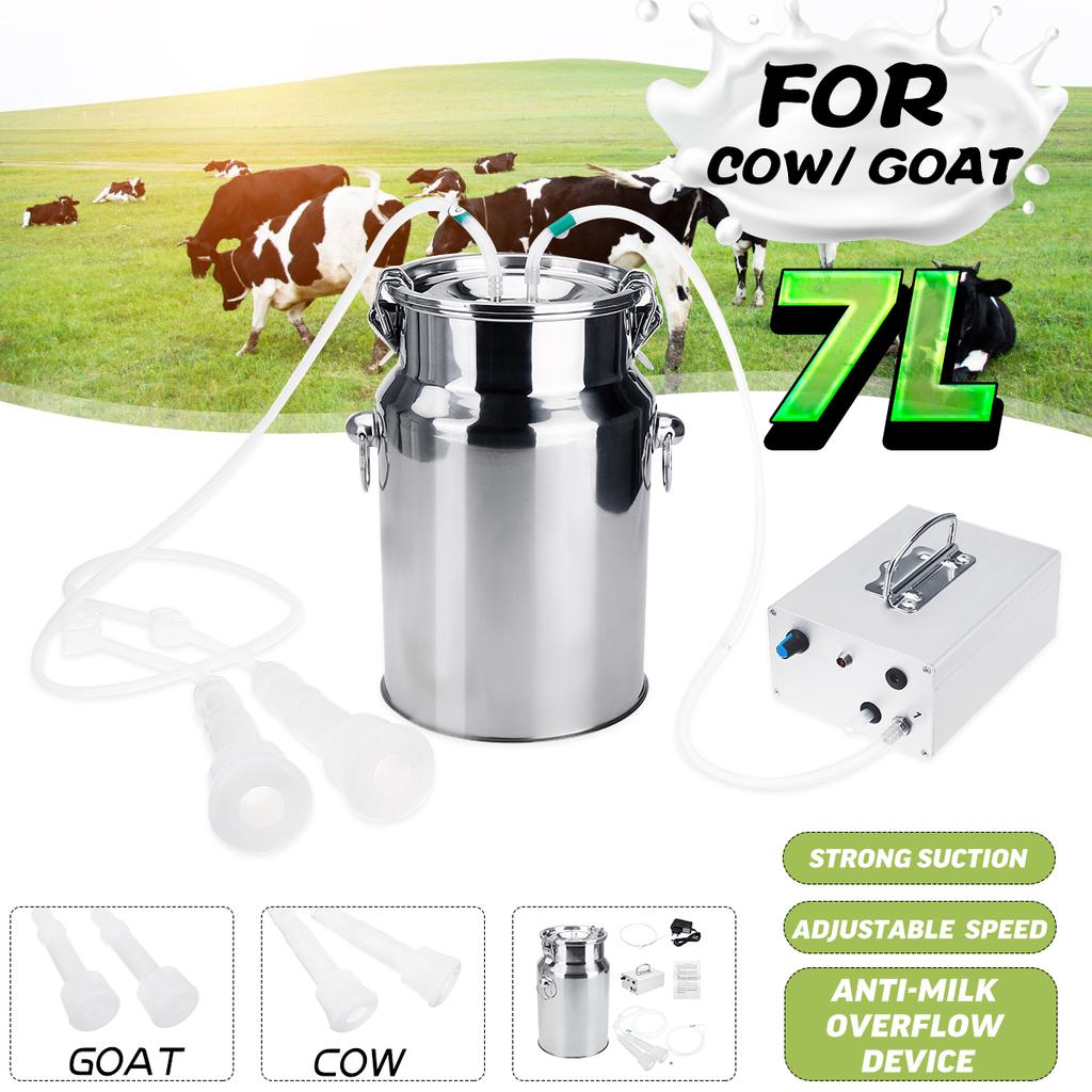 2L Electric Milking Machine Cow Sheep Goat Milker Portable Vacuum Pump Bucket