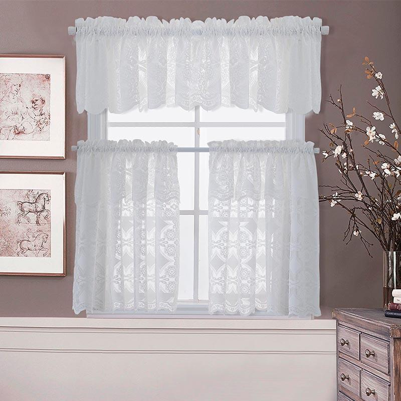 Floral Embroidered Short Half Curtains Window Tiers Sheer Voile for Cafe