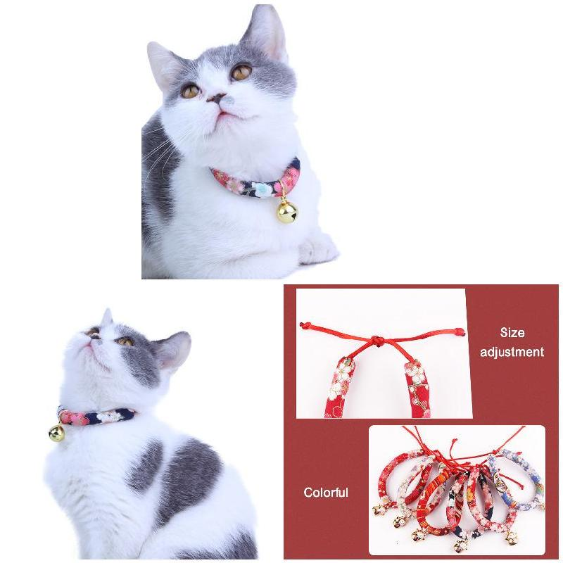 Cat Collar with Bell Sun Flower Decor Adjustable Safety Buckle for Cat Kitten Dog Pet Collar