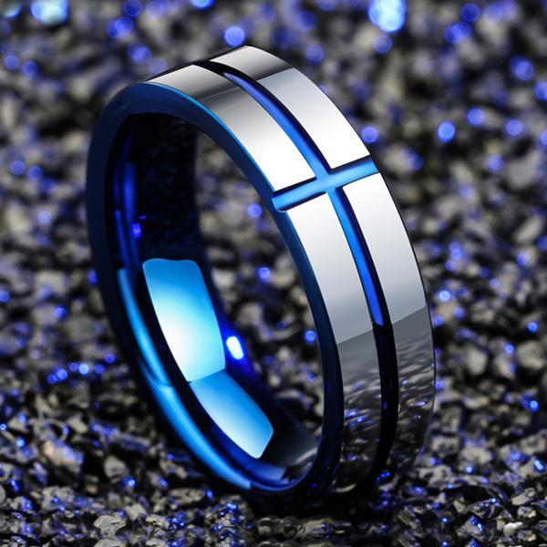 Ювелирные изделия титана Стальные кольца для мужчин синий крест кольцо сталь нержавеющей человек женщины палец кольцо фото