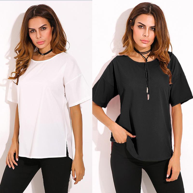 ЗАНЗЕА Плюс Размер Топы Летние женщины Случайный Твердый цвет Блузка Короткие рукава футболка Loose Tops – купить по низким ценам в интернет-магазине Joom