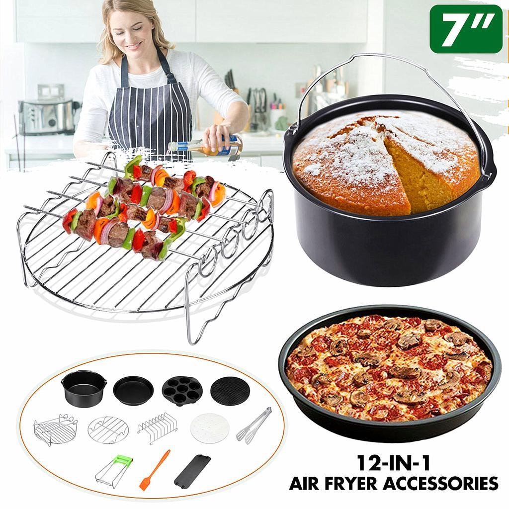 12PCS 8/'/'Air Fryer Accessories Frying Dish Baking Pan Clip Rack Pizza