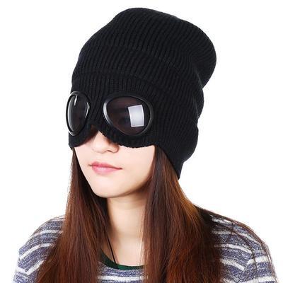 d5a14f353d45c6 Zagęszczony zimowy czapka z dzianiny ciepły czapki Skullies czapka  narciarska z odpinanymi okularami dla mężczyzn,
