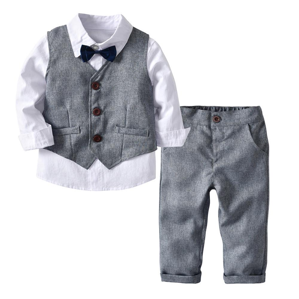 Kids Baby Boys Gentleman Clothes Shirt Tops Waistcoat Pants Party Outfits Set UK