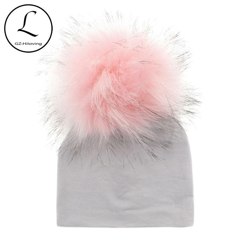 f355529ce1a 0-5 Months Solid Color 100% Cotton Newborn Size Faux Fur Pom Pom ...
