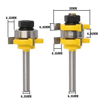 2pcs 1//2 Inch Shank Tongue Groove Router Bit Set T-shape Wood Milling Cutter