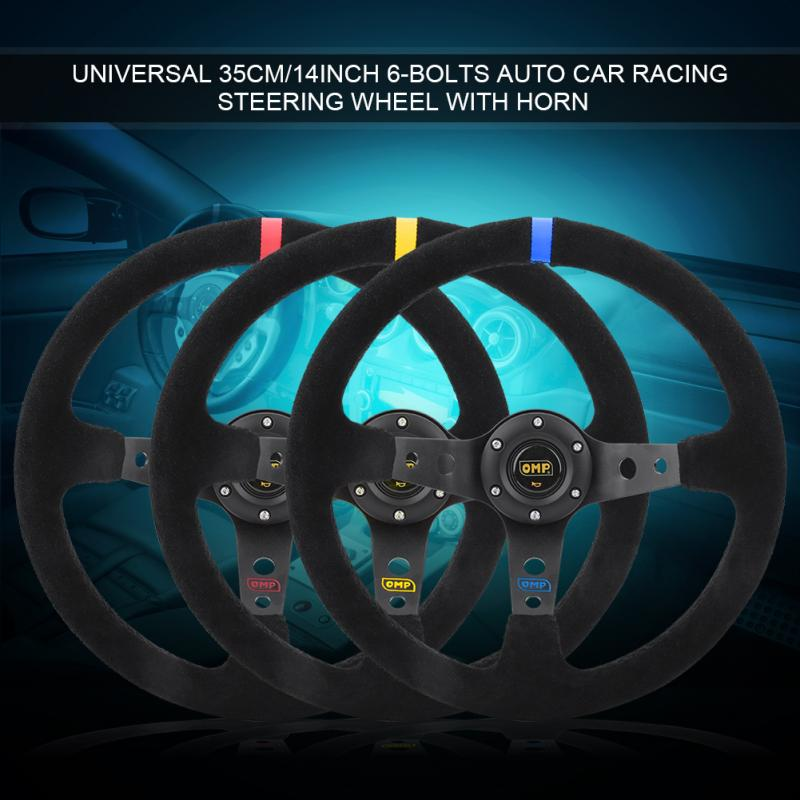 350mm 14inch Universal Aluminum Frame PU Leather 6-Bolt Car Racing Steering Wheel W//Horn Racing Steering Wheel Blue