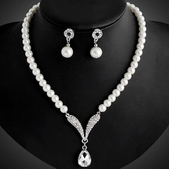67294a0fa87c Delicado colgante de cristal cadena perla novia collar pendientes conjunto  elegante joyería nupcial - comprar a precios bajos en la tienda en línea  Joom