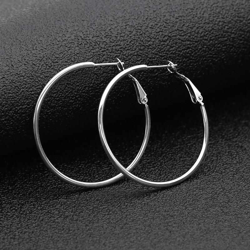 40//50//60//70MM Unique Stainless Steel Women/'s Big Round Hoop Earrings Silver Gift
