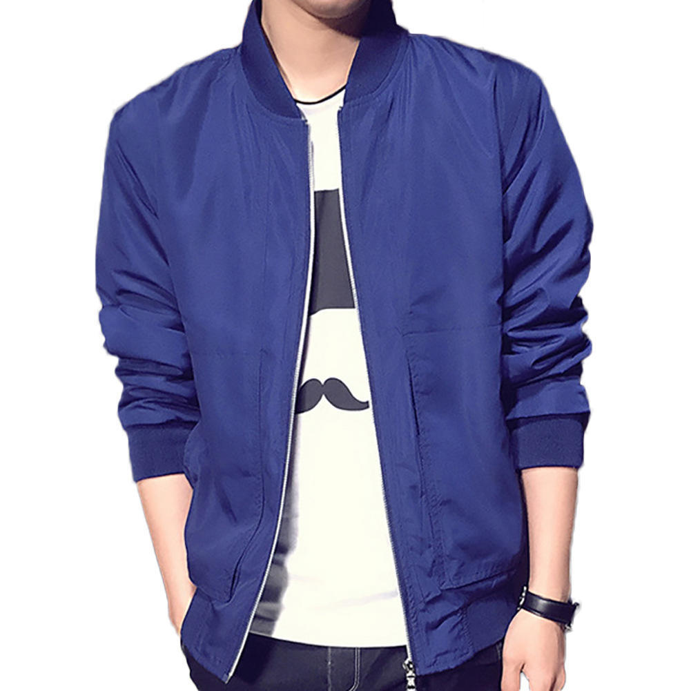 新款男士棒球领纯色3166薄款外套韩版修身大码外贸夹克