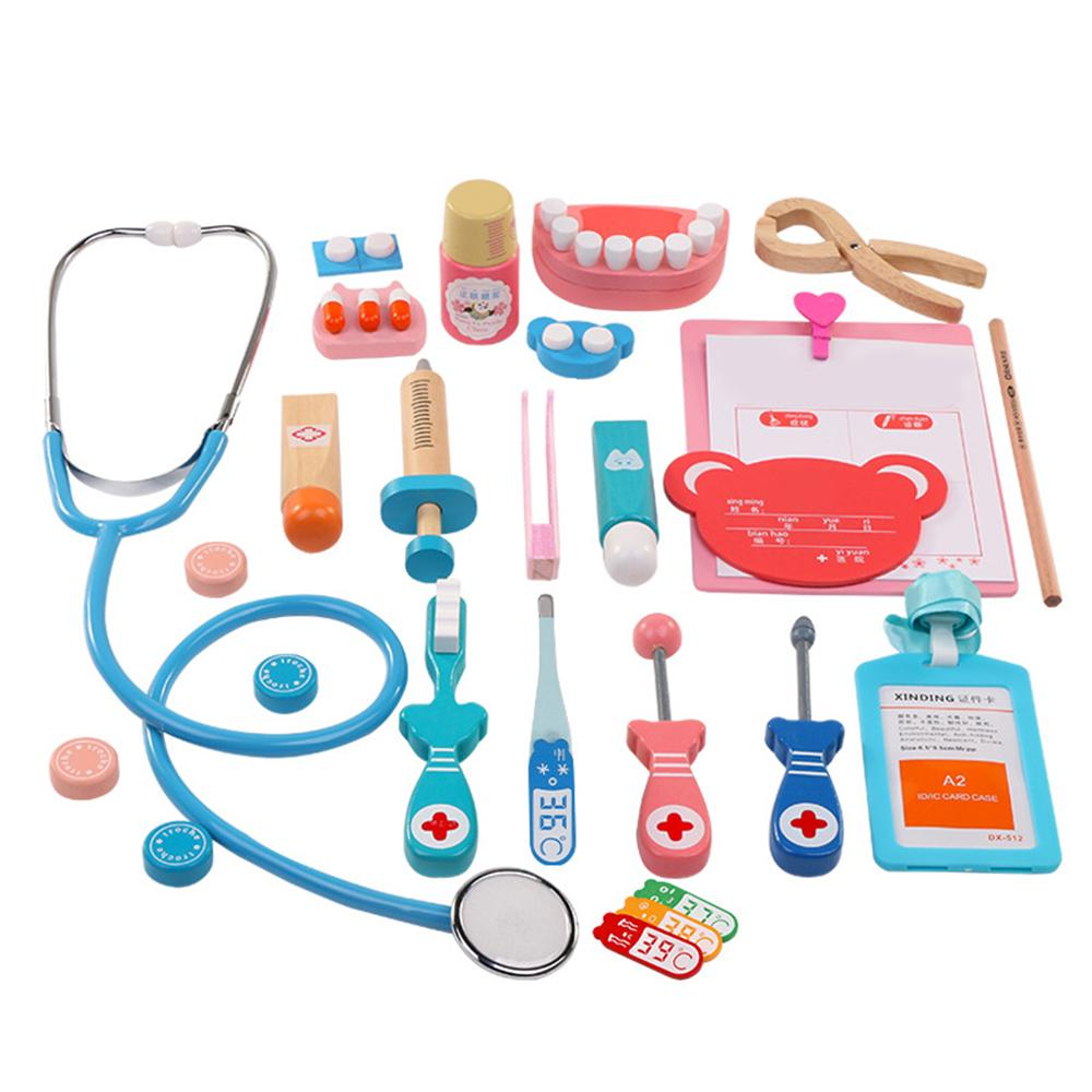 Doctor Kit For Kids 16Pcs Wooden Toy Medical FREE SHIPPING BLUE
