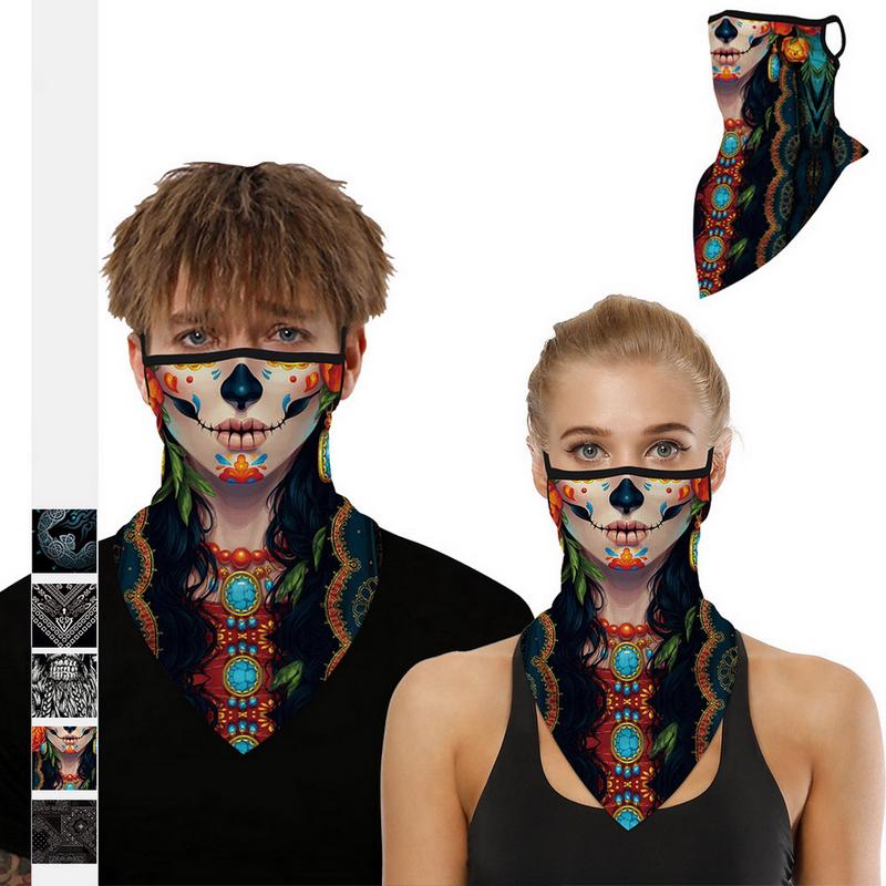 Face Windproof Neck Motorcycle Scarf Headband Anti UV Cover with Earloop Bandana