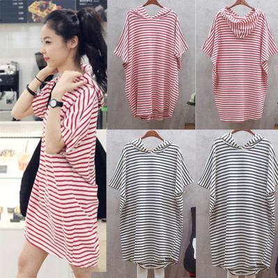 580201d627 Womens Hooded Mini Dress Short Sleeve Casual Loose Summer Beach T-shirt  Sundress