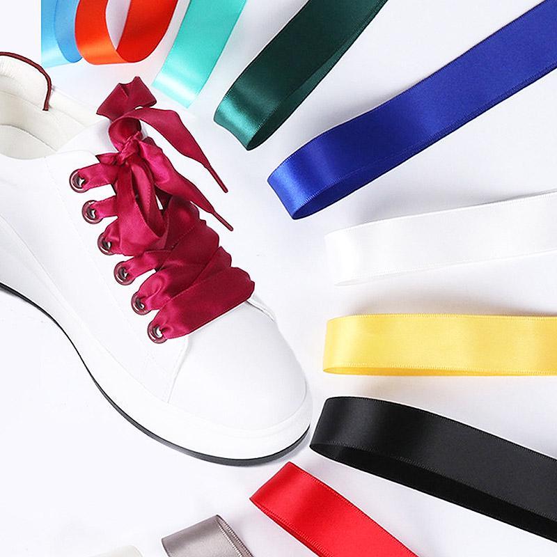 Various Color Flat Silk Ribbon Shoelaces Sneaker Party Sport Shoe Laces 4CM Wide