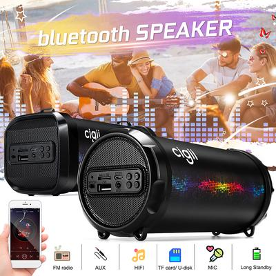 Card Stereo Bass Microphone Wireless Bluetooth 4.1 Speaker Retro with FM Radio