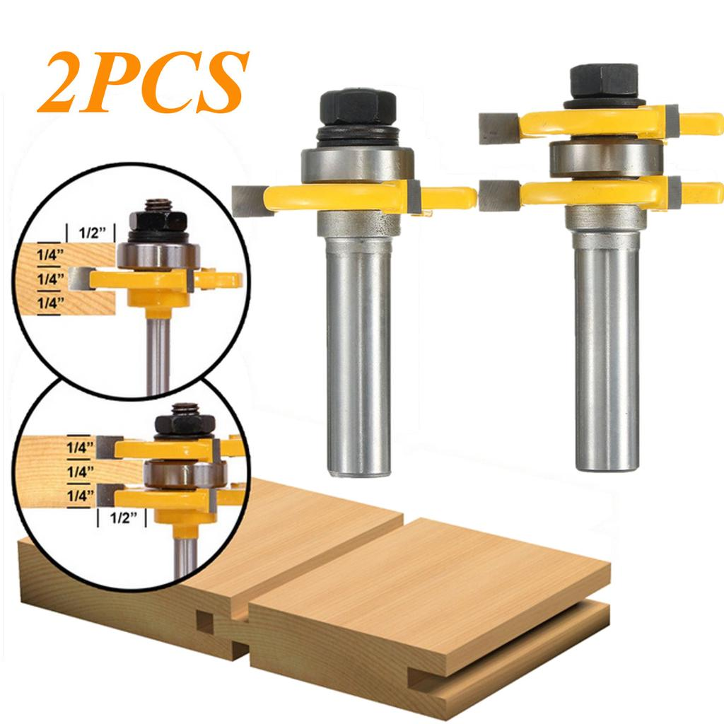 2pcs 1//2 Inch Shank Matched Tongue And Groove Assembly Joint Router Bit Set