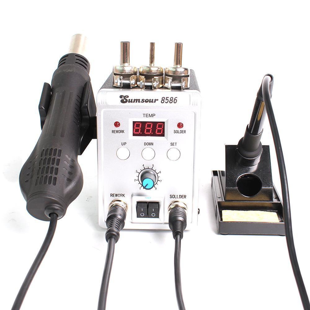 2 in 1 8586 Soldering Iron Station Hot Air Gun SMD Rework Digital Solder 750W UK