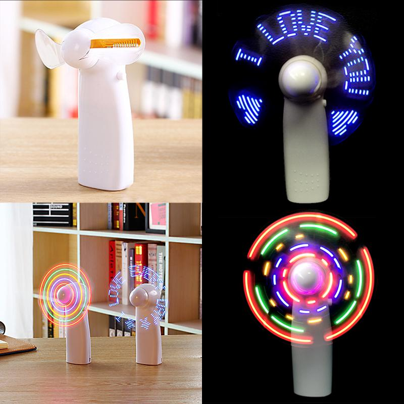 Red,Red Handheld Fan Unique Flash LED I LOVE YOU Pattern Mini Fan Super Mute Battery Operated Cooling Desktop Fan for Gift
