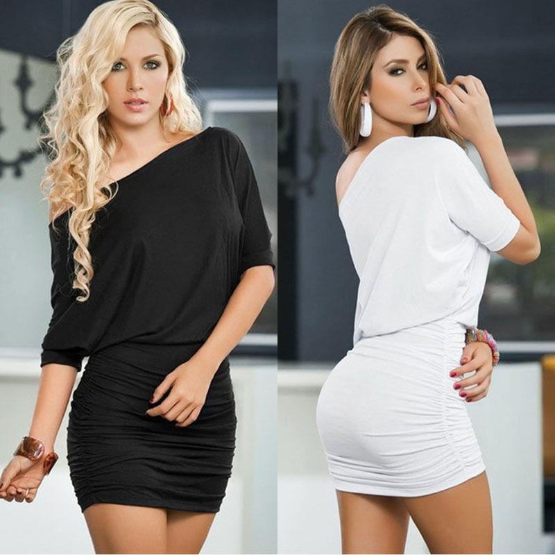 欧美夏季简约小短裙 晚礼服 中袖褶皱包臀性感连衣裙