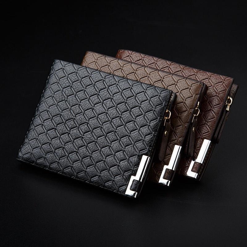 Кожаный кошелек бумажник. Содержит Zip молнию и металлический край. Размер:9.8 * 12 см фото
