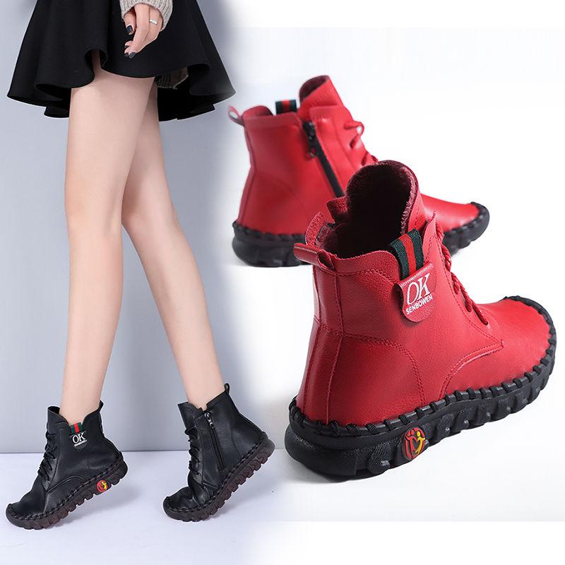 Подлинная кожа женщин сапоги Мягкий нижний плоский сапоги женская обувь Зимняя Плюс Бархат Мартин сапоги – купить по низким ценам в интернет-магазине Joom
